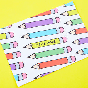 Write More Pencil Pattern Postcard by Zabby Allen