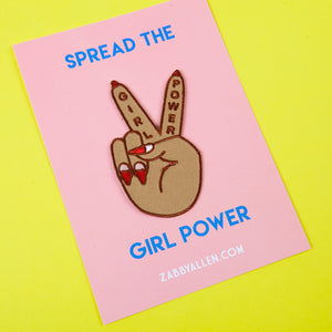 Girl Power Peace Sign Iron-on Patch by Zabby Allen on Spread the Girl Power Backing Card