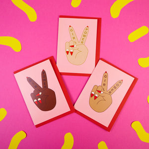 Zabby Allen Girl Power Greetings Cards - Peace Sign Hands with Girl Power text and heart nail art.
