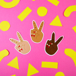 Girl Power Peace Sign Stickers in 3 skintones by Zabby Allen