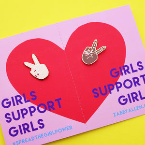 BFF Girl Power Pin Sets - Two Girl Power Pins on a Pull-Apart Card