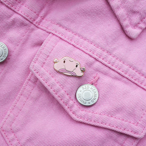 blobfish enamel pin on pink denim jacket zabby allen