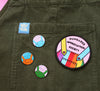 Dungaree Appreciation Society Enamel Pins and patch with Lucy & Yak dungarees