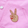 Girl Power Peace Sign Patch by Zabby Allen on Pink denim Jacket - Medium