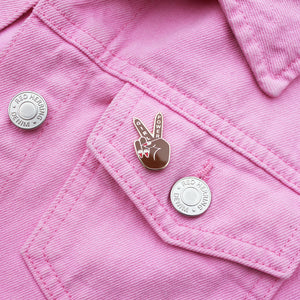 Girl Power Peace Sign Enamel Pin by Zabby Allen on Pink denim Jacket