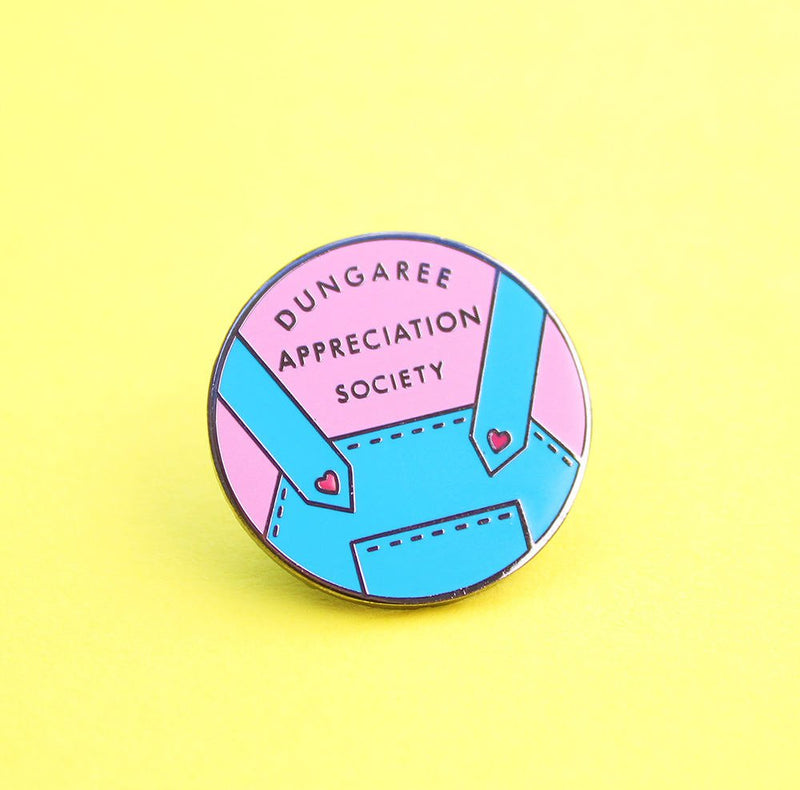 Dungaree Appreciation Society enamel pins by Zabby Allen blue and pink colourway