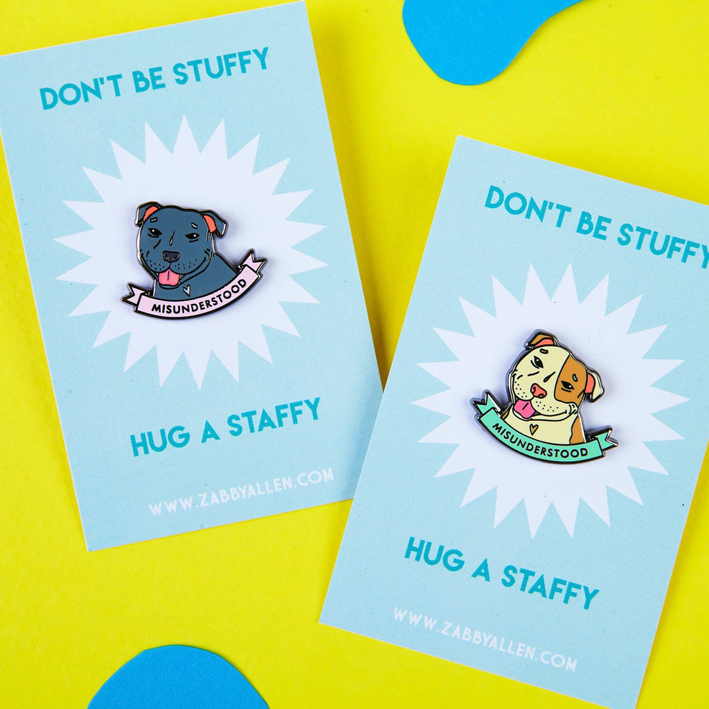 Misunderstood Staffy Pins by Zabby Allen - Don't Be Stuffy Hug a Staffy