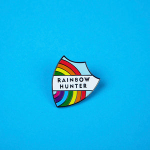 Merit style Badge with rainbow and text reading 'Rainbow Hunter' - design by Zabby Allen