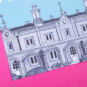 Art Print by zabby Allen - A pen and ink illustration of the Watermen's Almshouses in Penge - close up