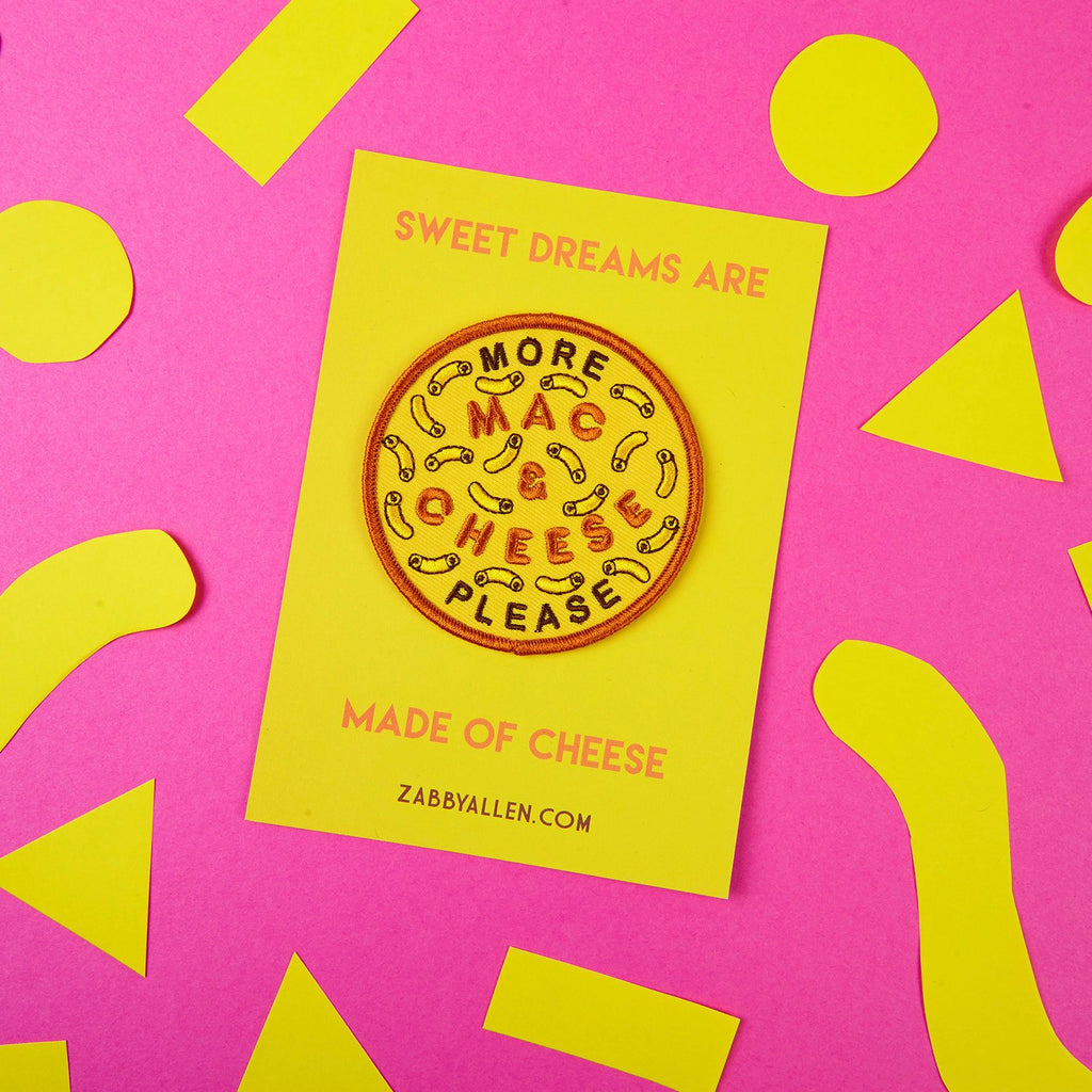 More Mac & Cheese Please Iron-on Patch by Zabby Allen on Sweet Dreams Are Made of Cheese Backing Card