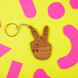 Girl Power Peace Sign Cheery Veneer Laser Cut Keyring by Zabby Allen