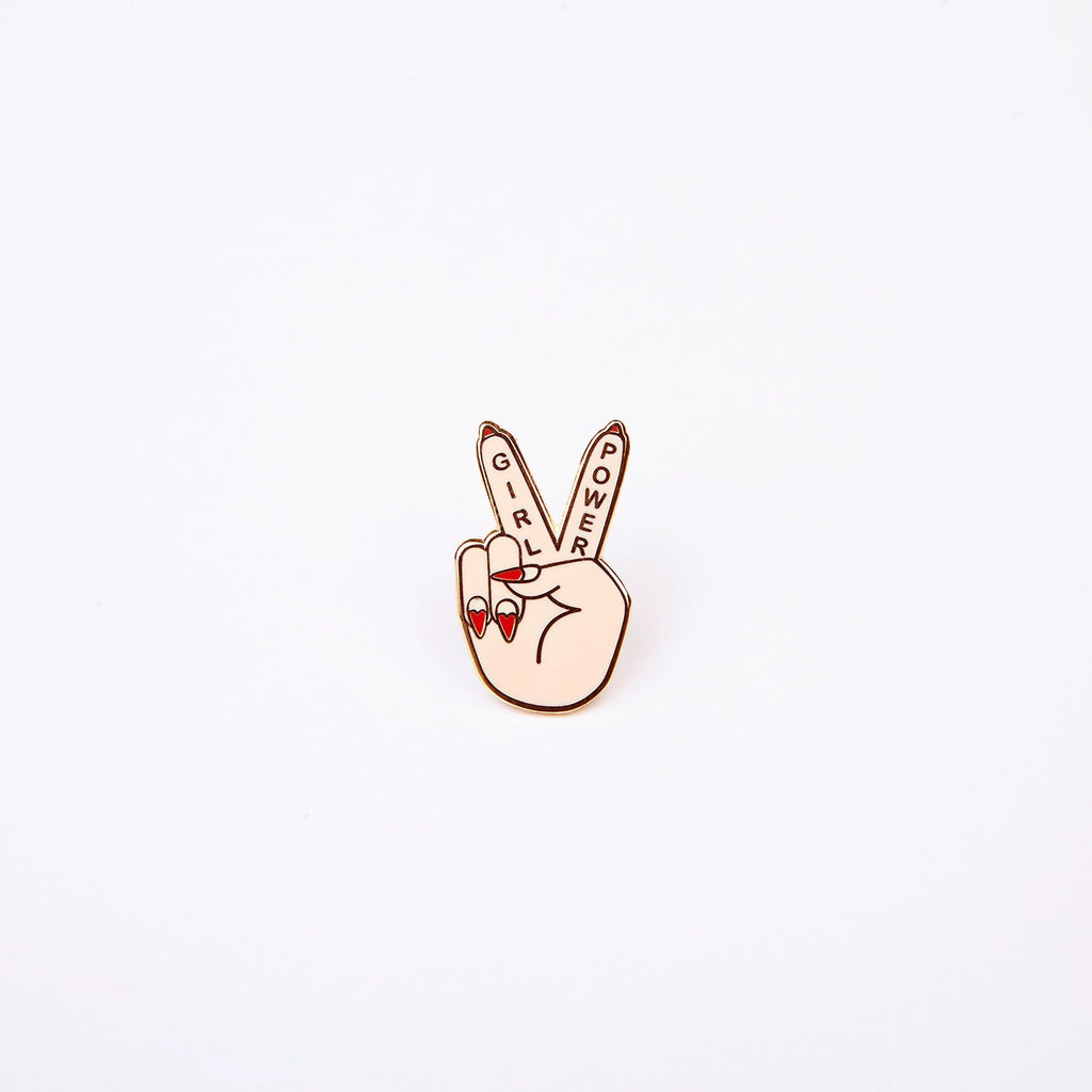 Girl Power Pin by Zabby Allen - Peace sign hand with heart nail art and the words Girl Power on the fingers