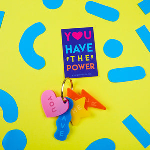 You Have The Power Multi-Coloured Shapes Acrylic Keyring by Zabby Allen Lucky Dip Club Fri-YAY surprise