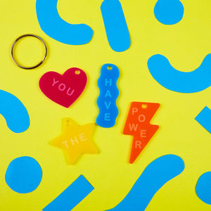 You Have The Power Multi-Coloured Shapes Acrylic Keyring by Zabby Allen