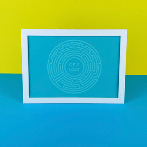 Teal Coloured Digital Art Print of Crystal Palace Maze with Get Lost Text by Zabby Allen