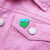 Love London Heart Enamel Pin Green and Blue on Pink Denim Jacket - by Zabby Allen