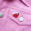 Love London Heart Enamel Pin Pink and Red on Pink Denim Jacket - by Zabby Allen