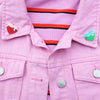Love London Heart Enamel Pins as Collar Pins on Pink Jacket by Zabby Allen
