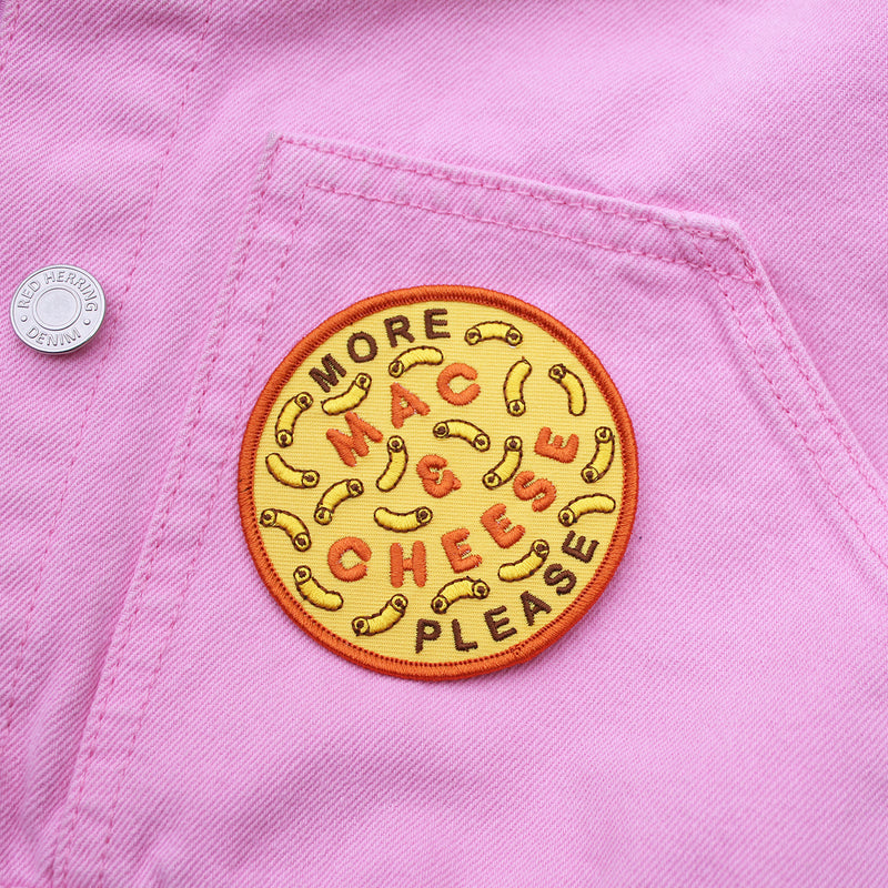More Mac & Cheese Iron-on Patch on Pink Jacket - by Zabby Allen