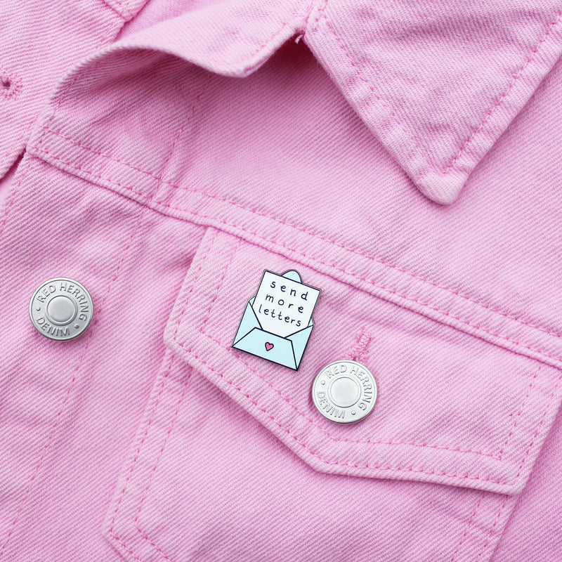 Send More Letters Envelope Enamel Pin by Zabby Allen - on pink denim jacket