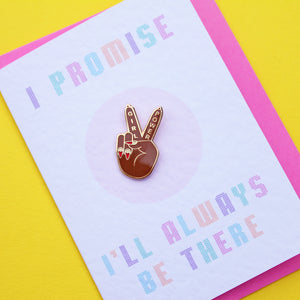 Say You'll Be There Spice Girls Mini Greetings Card with Girl Power Peace Sign enamel Pin by zabby Allen - dark