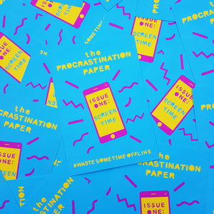 The Procrastination Paper by Zabby Allen - a mini magazine with a an illustrated cover made from paper shapes - Issue one: Screen Time is on a phone screen - #WasteSomeTimeOffline