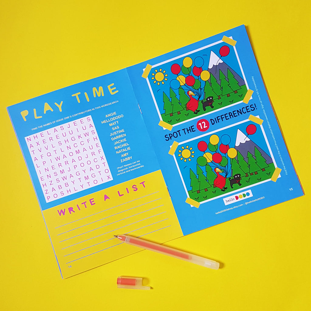 the Procrastination Paper - a mini magazine by Zabby Allen - Play Time Spread - Spot the Difference by HelloDODO