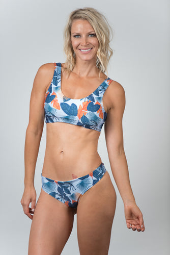 Pacific Print Blue Top - Kiwi Elite Swimwear