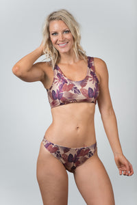 Pacific Print Nude Purple Top - Kiwi Elite Swimwear