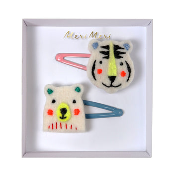 Embroidered Bear & Tiger Hair Slides