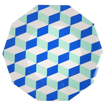 Blue + Mint Plate / Large