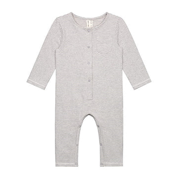 Baby L/S Playsuit / Grey Melange Cream Stripe