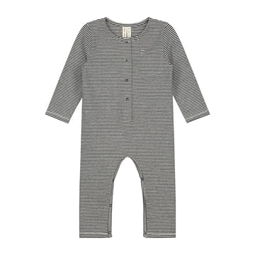 Baby Long Sleeve Playsuit / Nearly Black Cream Stripe