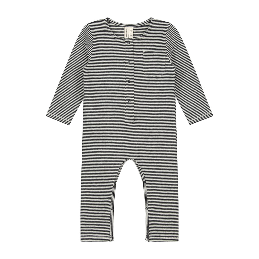 Baby L/S Playsuit / Nearly Black Cream Stripe