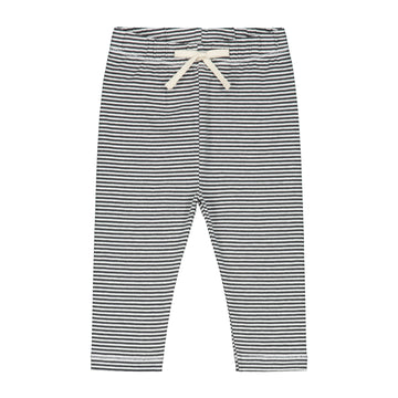 Baby Leggings / Nearly Black Cream Stripe