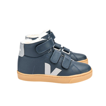 Esplar Mid Leather Furred Sneaker / Nautico + Oxford-Grey