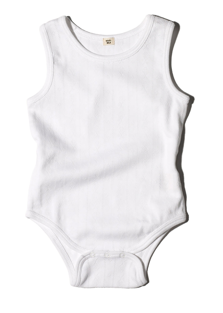 Sleeveless Onesie / White