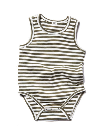 Striped Sleeveless Onesie / Moss