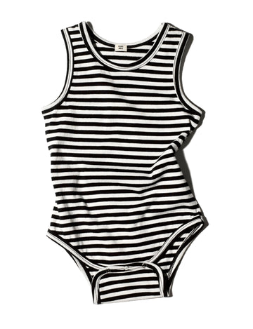 Striped Sleeveless Onesie / Black