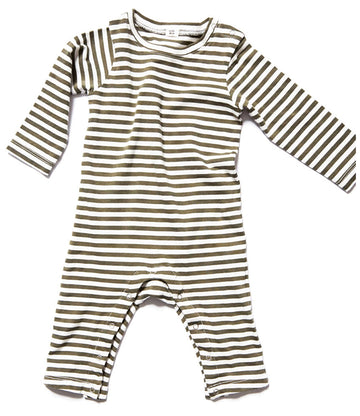 Striped Romper / Moss