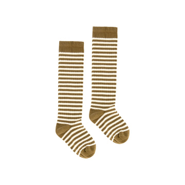 Long Ribbed Socks / Peanut Stripe