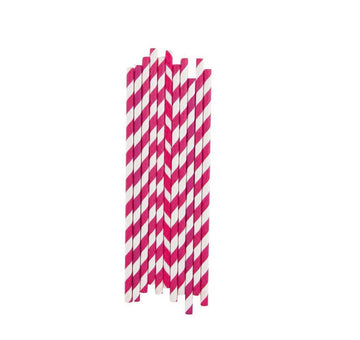 Fuchsia Stripes Paper Straws / 25 Count