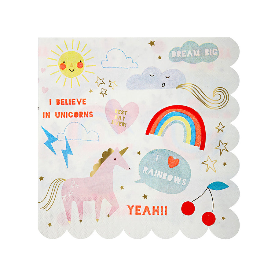 Rainbow & Unicorn Large Napkins / Set of 20