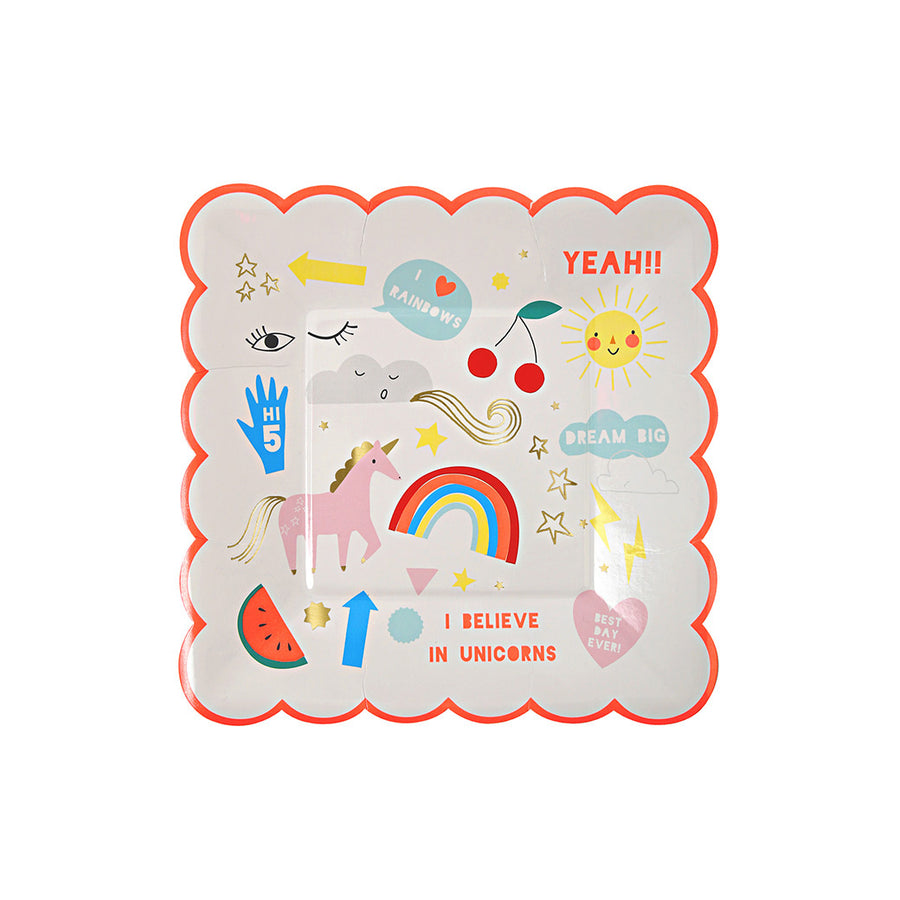 Rainbow & Unicorn Small Plate / Set of 8