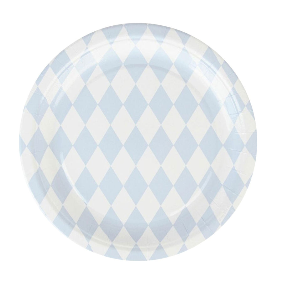 Blue Diamonds Paper Plates / Set of 8