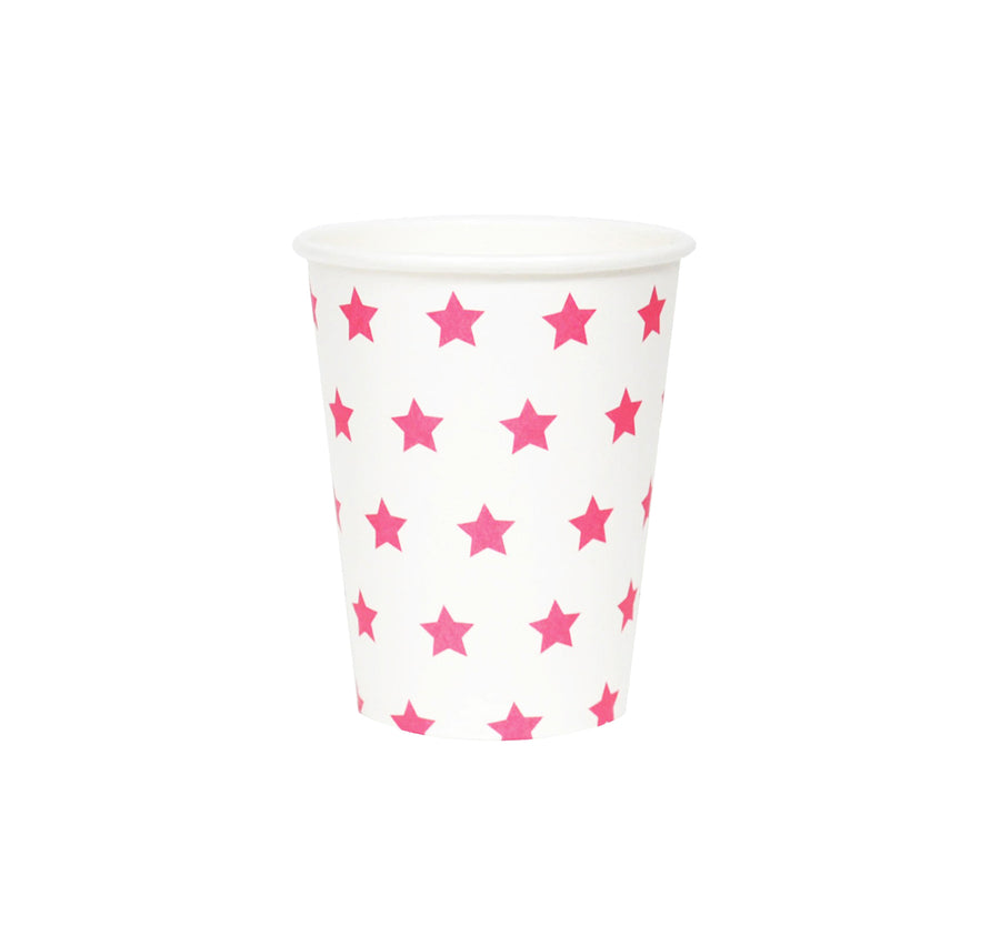 Pink Stars Paper Cups / Set of 8