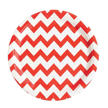 Red Chevron Paper Plates / Set of 8
