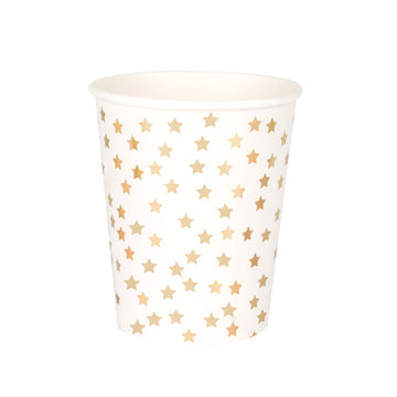 Golden Stars Paper Cups / Set of 8