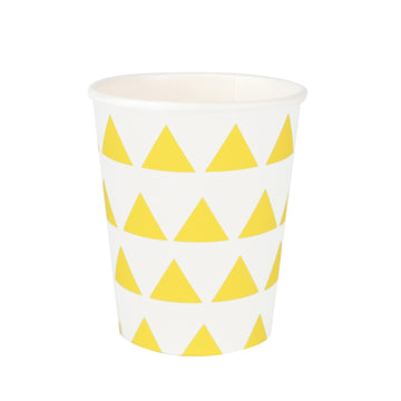 Yellow Triangles Paper Cups / Set of 8