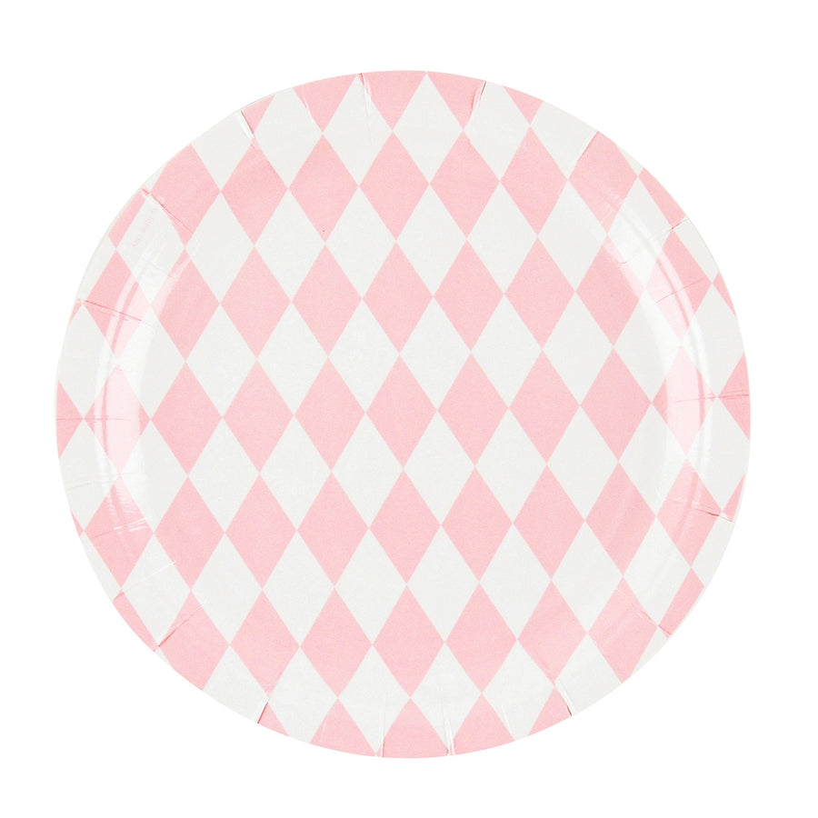 Pink Diamonds Paper Plates / Set of 8